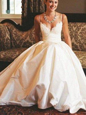 Sweep Train Ruched A-Line Satin  V-Neck Sleeveless Wedding Dresses UK_4