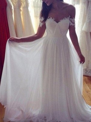 Sweep Train A-Line  Sleeveless Applique Lace Off-the-Shoulder Wedding Dresses UK_3