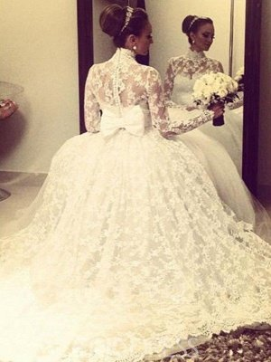 Cathedral Train Ribbon Ball Gown High Neck Lace Long Sleeves Wedding Dresses UK_3