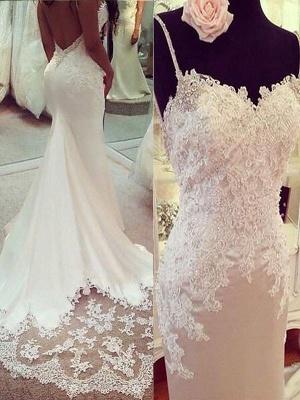 Sexy Mermaid Spaghetti Straps Applique Satin Court Train Sleeveless Wedding Dresses UK_1