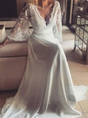 Ribbon Court Train A-Line Long Sleeves  V-Neck Lace Wedding Dresses UK_1