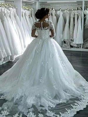 Scoop Neckline Applique Long Sleeves Ball Gown  Tulle Wedding Dresses UK_3