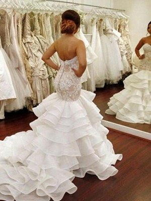 Organza Sleeveless Ruffles Sweetheart Applique Lace Sexy Mermaid Wedding Dresses UK_3