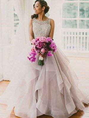 Organza Scoop Neckline Ball Gown Beads Sweep Train Sleeveless Wedding Dresses UK_1