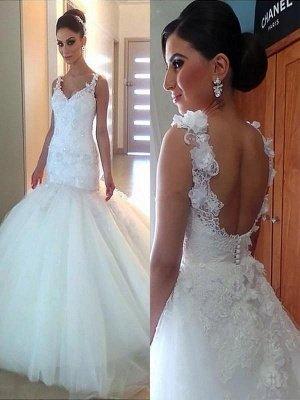 Court Train Tulle Sexy Mermaid Applique  V-Neck Sleeveless Wedding Dresses UK_1