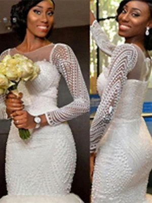 Long Sleeves  Sexy Mermaid Tulle Cheap Sweep Train Beads Scoop Neckline Wedding Dresses UK_1