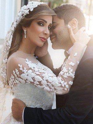 Satin Scoop Neckline Applique Long Sleeves Ball Gown Wedding Dresses UK_3