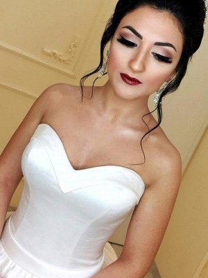 Cathedral Train Ball Gown Sleeveless Satin Ribbon Sweetheart Wedding Dresses UK_4