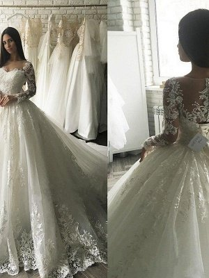Applique Court Train Ball Gown Scoop Neckline Tulle Long Sleeves Wedding Dresses UK_2