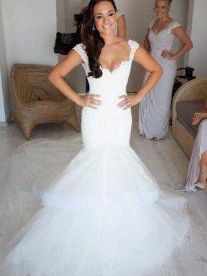 Straps Sleeveless  Sexy Mermaid  Organza Wedding Dresses UK_3