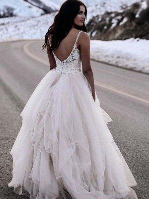 Ruched A-Line Floor-Length Tulle Cheap Sleeveless V-neck Wedding Dresses UK_4