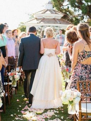 A-Line Asymmetrical Ruffles Sweetheart Sleeveless Sweetheart Wedding Dresses UK_3