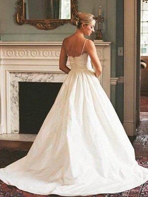 Sweep Train Ruched A-Line Satin  V-Neck Sleeveless Wedding Dresses UK_3