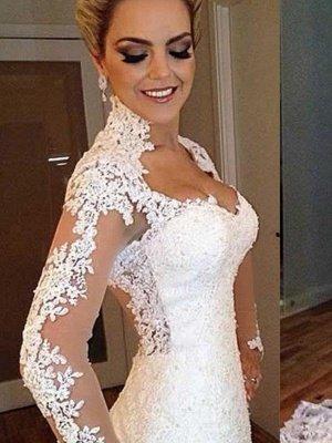 V-Neck Sweep Train Applique Lace Sexy Mermaid Long Sleeves Wedding Dresses UK_1