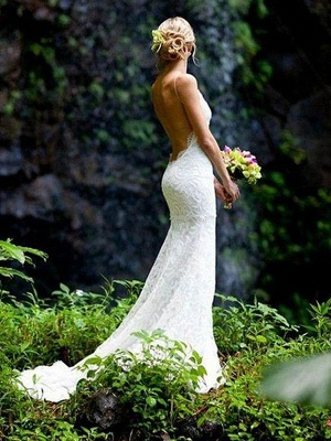 Court Train Sheath Spaghetti Straps Lace Sleeveless V-neck Wedding Dresses UK_2