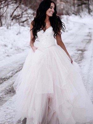 Ruched A-Line Floor-Length Tulle Cheap Sleeveless V-neck Wedding Dresses UK_1