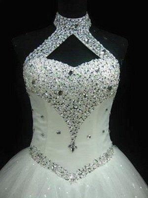 Sequin Ball Gown Sleeveless Floor-Length Beads Tulle Cheap Halter Wedding Dresses UK_3