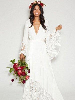 Floor-Length Lace A-Line Ribbon  V-Neck  Long Sleeves Wedding Dresses UK_3