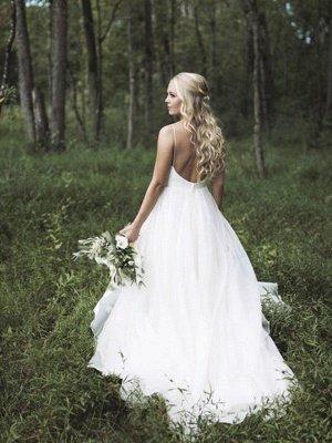 Spaghetti Straps Lace Organza A-Line  V-Neck Sleeveless Court Train Wedding Dresses UK_1