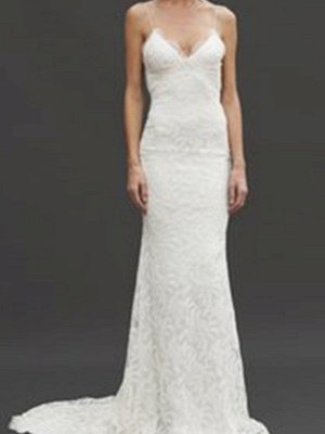 Court Train Sheath Spaghetti Straps Lace Sleeveless V-neck Wedding Dresses UK_5