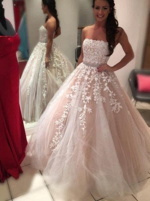 Applique Tulle Cheap Ball Gown Court Train Strapless Sleeveless Wedding Dresses UK_1