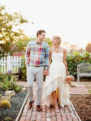 A-Line Asymmetrical Ruffles Sweetheart Sleeveless Sweetheart Wedding Dresses UK_4