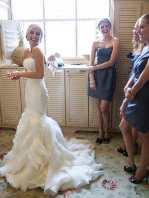 Court Train  Sexy Mermaid Sleeveless Sweetheart Ruffles Satin Wedding Dresses UK_1