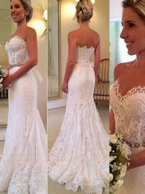 Sweep Train Sexy Mermaid Sweetheart Applique Lace Sleeveless Wedding Dresses UK_1