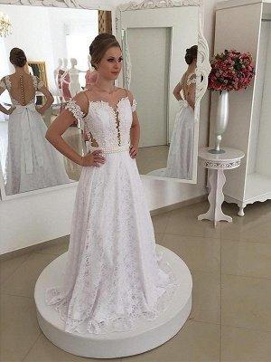 Lace Short Sleeves A-Line Sweep Train Scoop Neckline Wedding Dresses UK_1