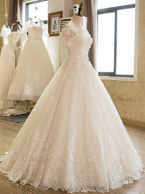Floor-Length Applique Ball Gown Off-the-Shoulder Lace Tulle 1/2 Sleeves Wedding Dresses UK_4