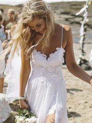 V-neck Applique Court Train A-Line  Sleeveless Wedding Dresses UK_1