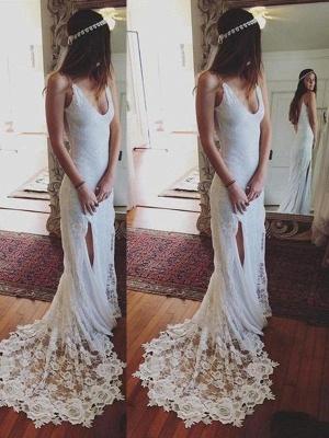 Straps Sheath Court Train Lace Sleeveless Wedding Dresses UK_1