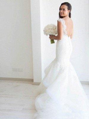 Straps Sleeveless  Sexy Mermaid  Organza Wedding Dresses UK_4