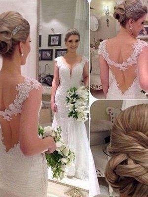 Lace Tulle Sexy Mermaid  V-Neck Sweep Train Sleeveless Applique Wedding Dresses UK_1