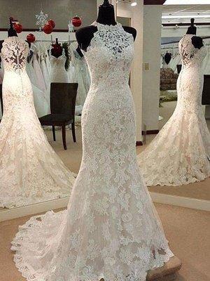 Applique Lace Sheath Sleeveless Scoop Neckline Sweep Train Wedding Dresses UK_3