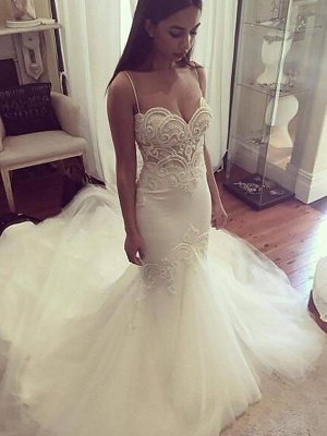 Tulle Cheap   Sexy Mermaid Spaghetti Straps Sleeveless Wedding Dresses UK_1