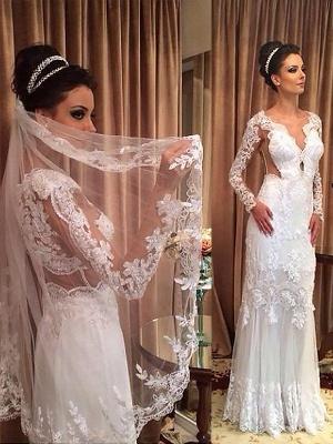 Long Sleeves Sweep Train Sheath  V-Neck Tulle Wedding Dresses UK_1