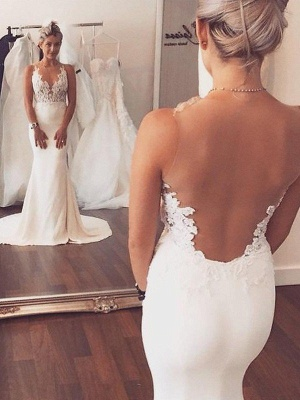 Satin  Sexy Mermaid Court Train Applique Sleeveless Scoop Neckline Wedding Dresses UK_1