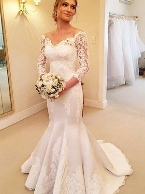 3/4 Sleeves  Sexy Mermaid Court Train Off-the-Shoulder Satin Lace Wedding Dresses UK_3