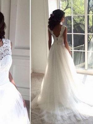 Tulle A-Line Square Court Train Sleeveless Wedding Dresses UK_3