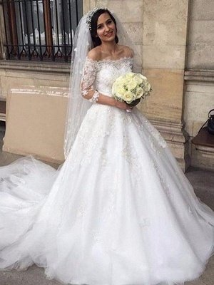 3/4 Sleeves  Ball Gown Off-the-Shoulder Tulle Applique Wedding Dresses UK_1