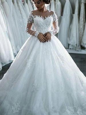 Scoop Neckline Applique Long Sleeves Ball Gown  Tulle Wedding Dresses UK_5