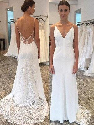 Spaghetti Straps Sweep Train Sheath Lace Satin Sleeveless Wedding Dresses UK_1