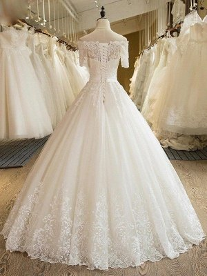 Floor-Length Applique Ball Gown Off-the-Shoulder Lace Tulle 1/2 Sleeves Wedding Dresses UK_3