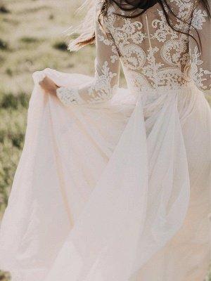 Long Sleeves Floor-Length Applique Tulle A-Line Scoop Neckline Wedding Dresses UK_5