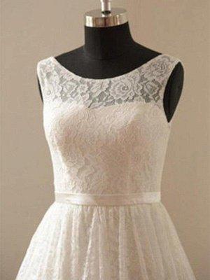 Knee-Length A-Line Sleeveless Scoop Neckline Ribbon Lace Wedding Dresses UK_3