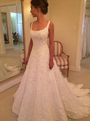 Court Train A-Line Straps Square Lace Applique Sleeveless Wedding Dresses UK_4