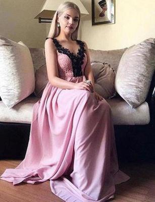 Charming A-Line Appliques Sleeveless V-Neck Long Prom Dress UK UK_1