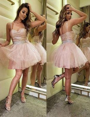 Amazing A-Line Sequins Spaghetti Straps Tulle Short length Prom Dress UK UK_1