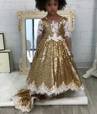 Gold Sequins Girl Applique Round Neck Court Train Pageant Dress UK_4